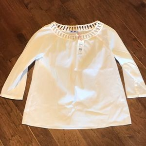Vineyard Vines Poplin Basket Weave Top
